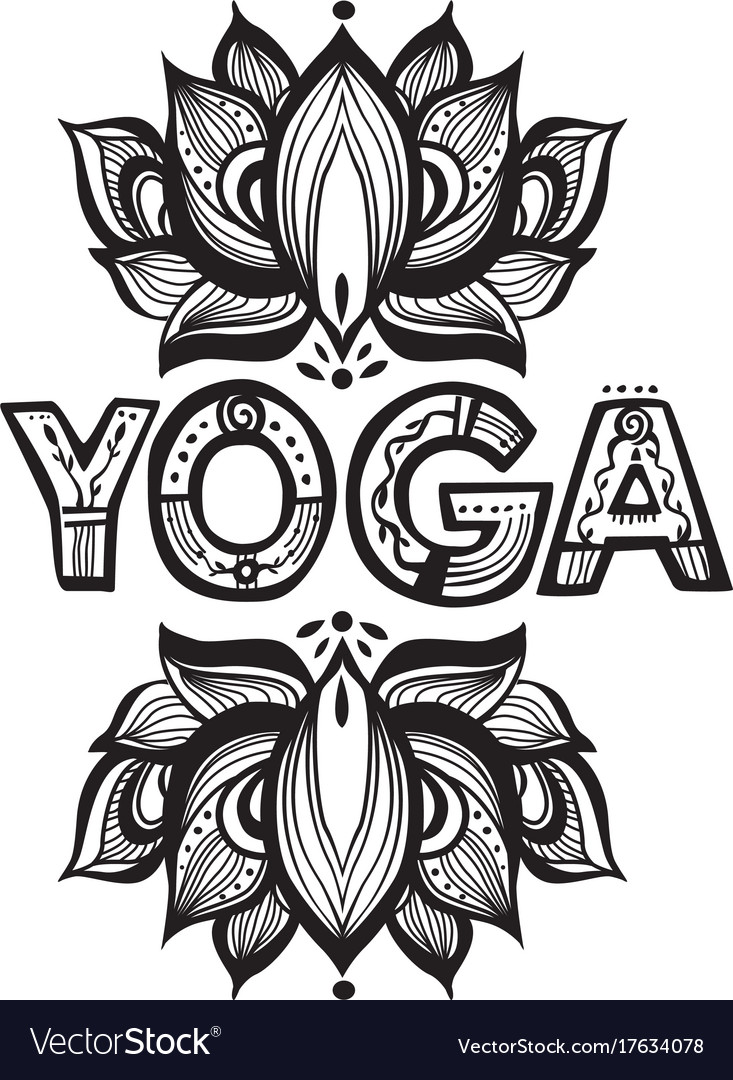 Word yoga with lotus flower silhouette royalty free vector word yoga with lotus flower silhouette vector image mightylinksfo Gallery