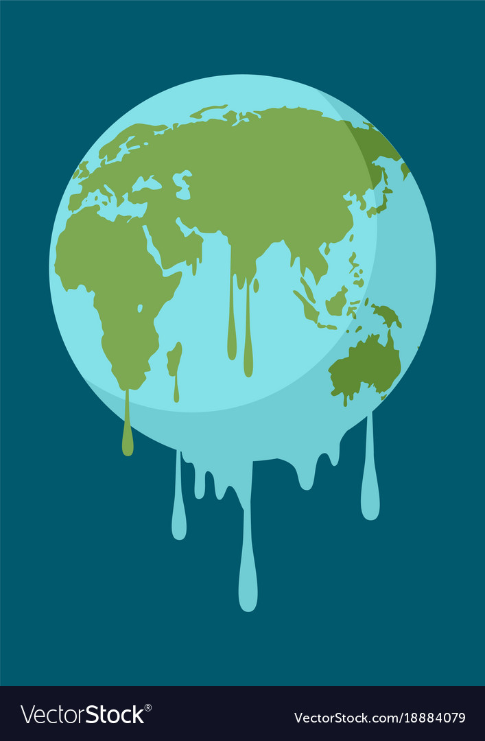 graphic of a melting earth royalty free vector image