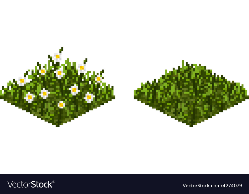 Isolated grass tile in pixel art Royalty Free Vector Image