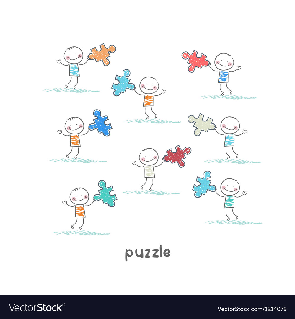 Man and puzzle vector image
