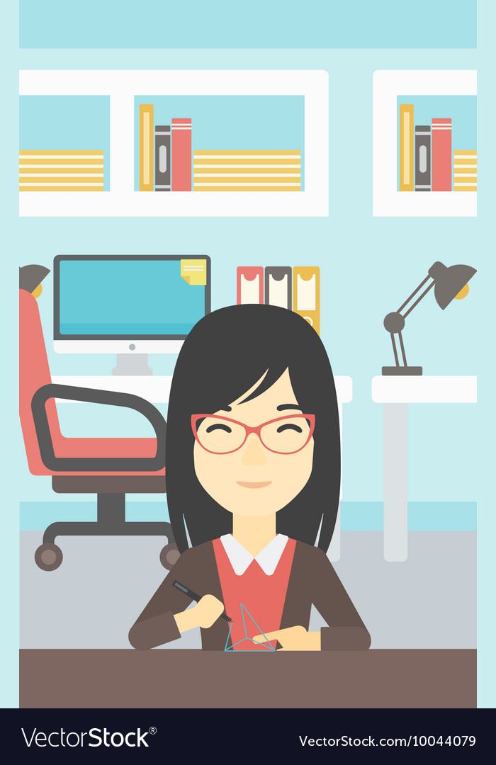 Woman using three D pen vector image