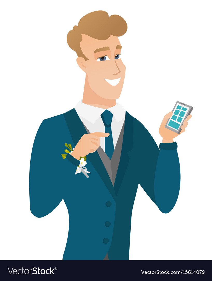 Young caucasian groom holding a mobile phone vector image