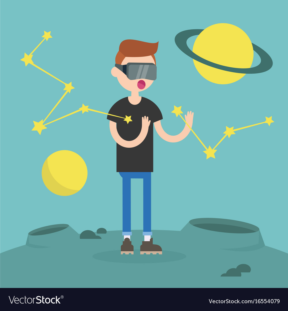 Young nerd wearing virtual reality glasses vector image