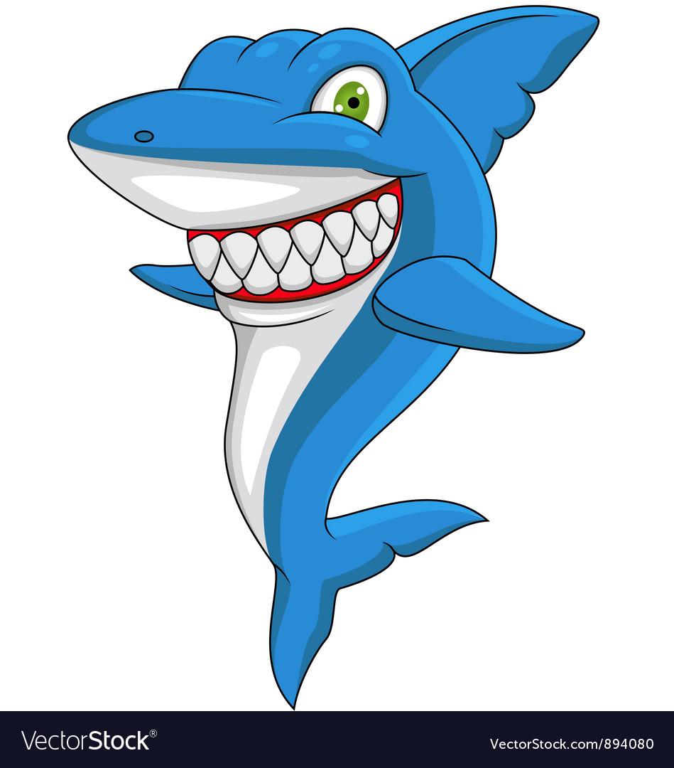 angry shark cartoon royalty free vector image vectorstock