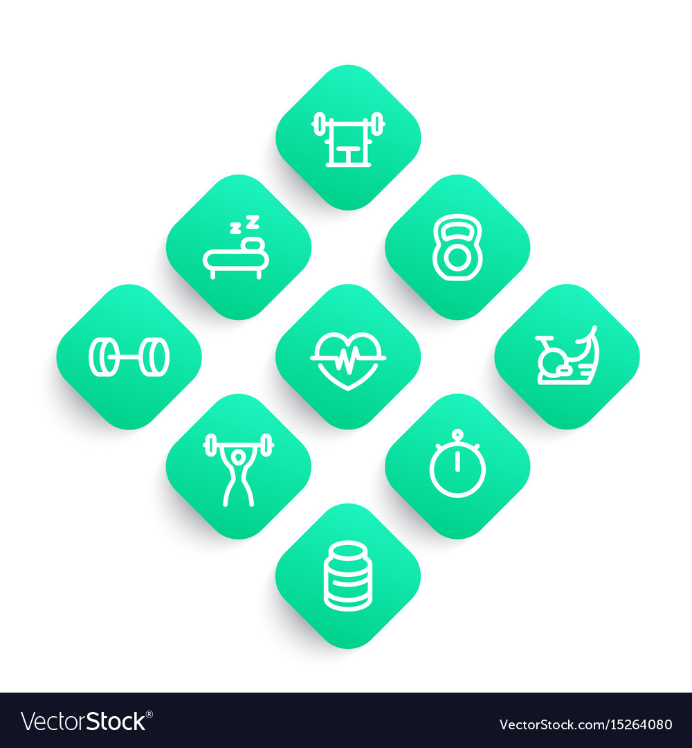 Fitness icons set in linear style vector image