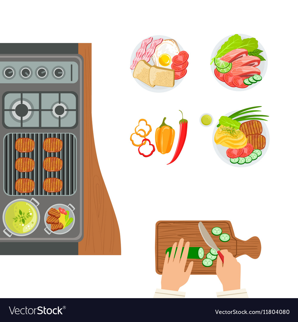 Stove Cooked Dishes And Hands Of The Cook Cooking vector image
