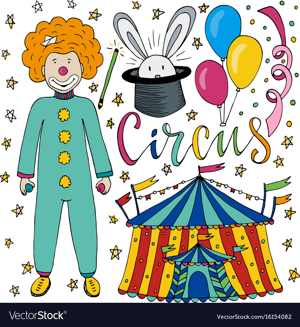 Circus hand drawn collection with colorful clown vector image