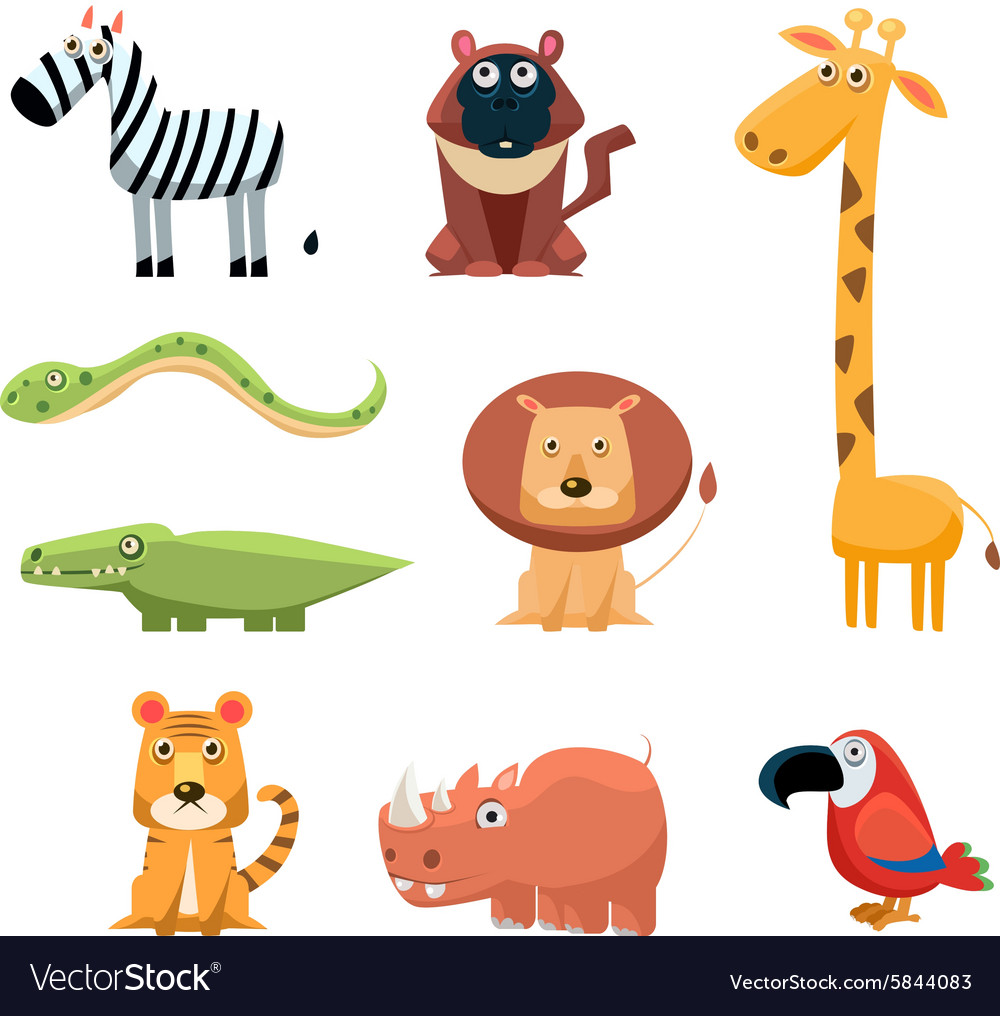 African Animals Fun Cartoon vector image
