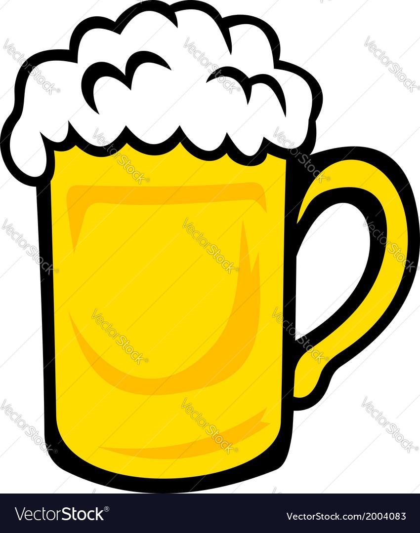 Tankard of frothy golden beer vector image