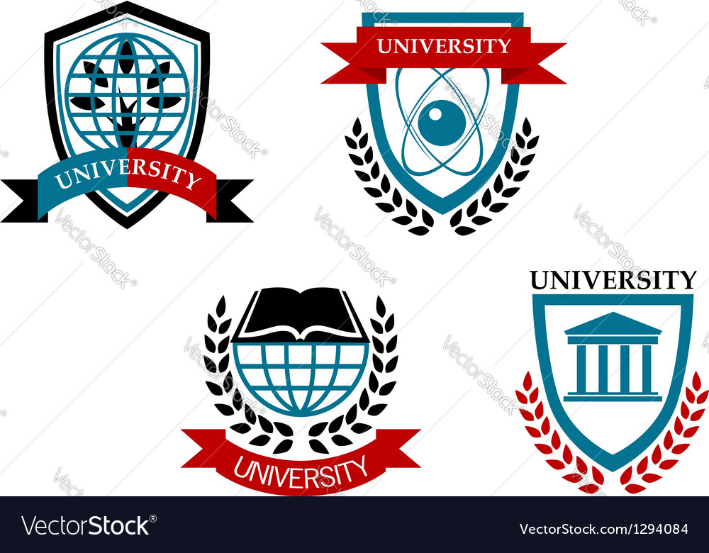 Set of university and education emblems vector image