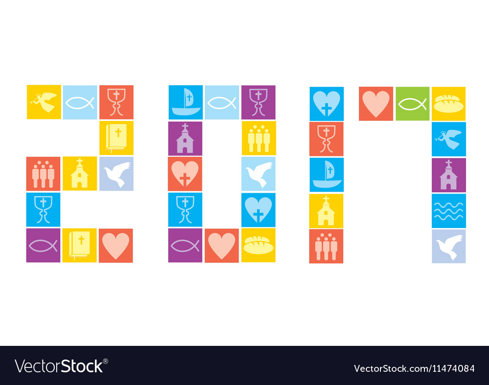 Christianity icons happy new year vector image
