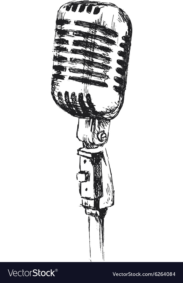 Hand sketch old microphone vector image