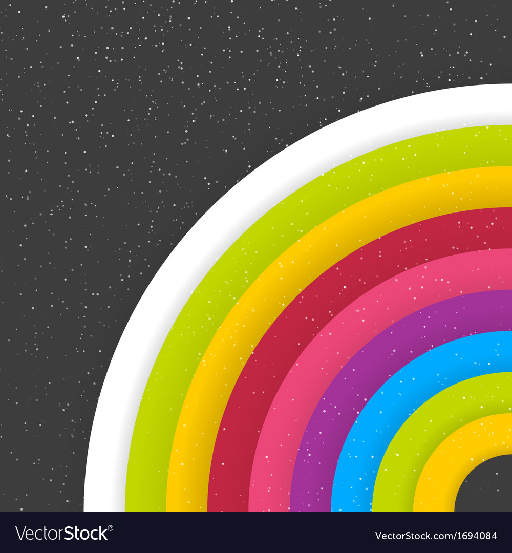Rainbow Colored Circles On Dark Starry Background vector image