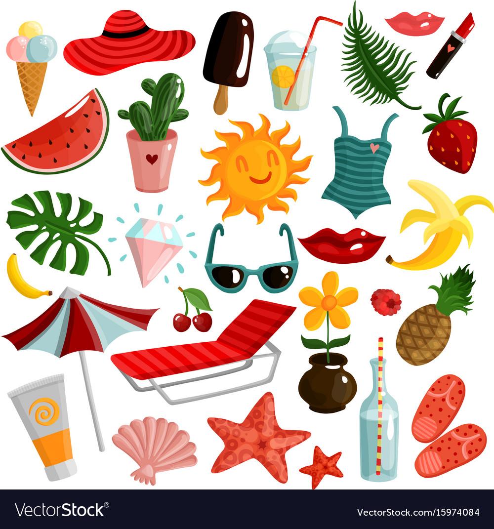 Summer accessories set vector image