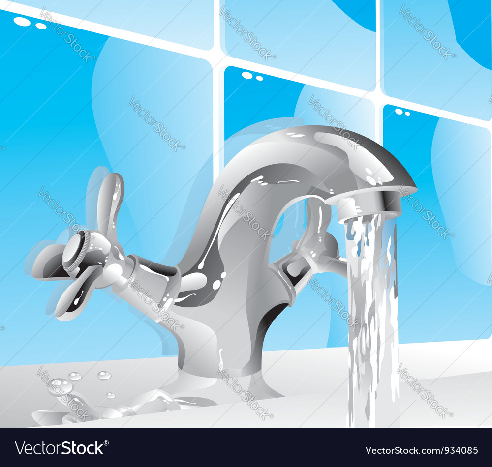 Metal water tap vector image