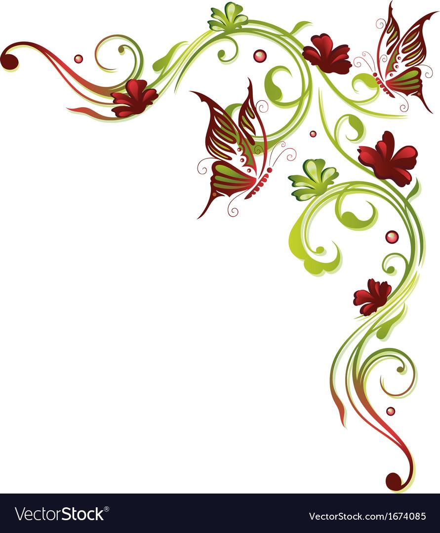 flowers butterflies royalty free vector image vectorstock