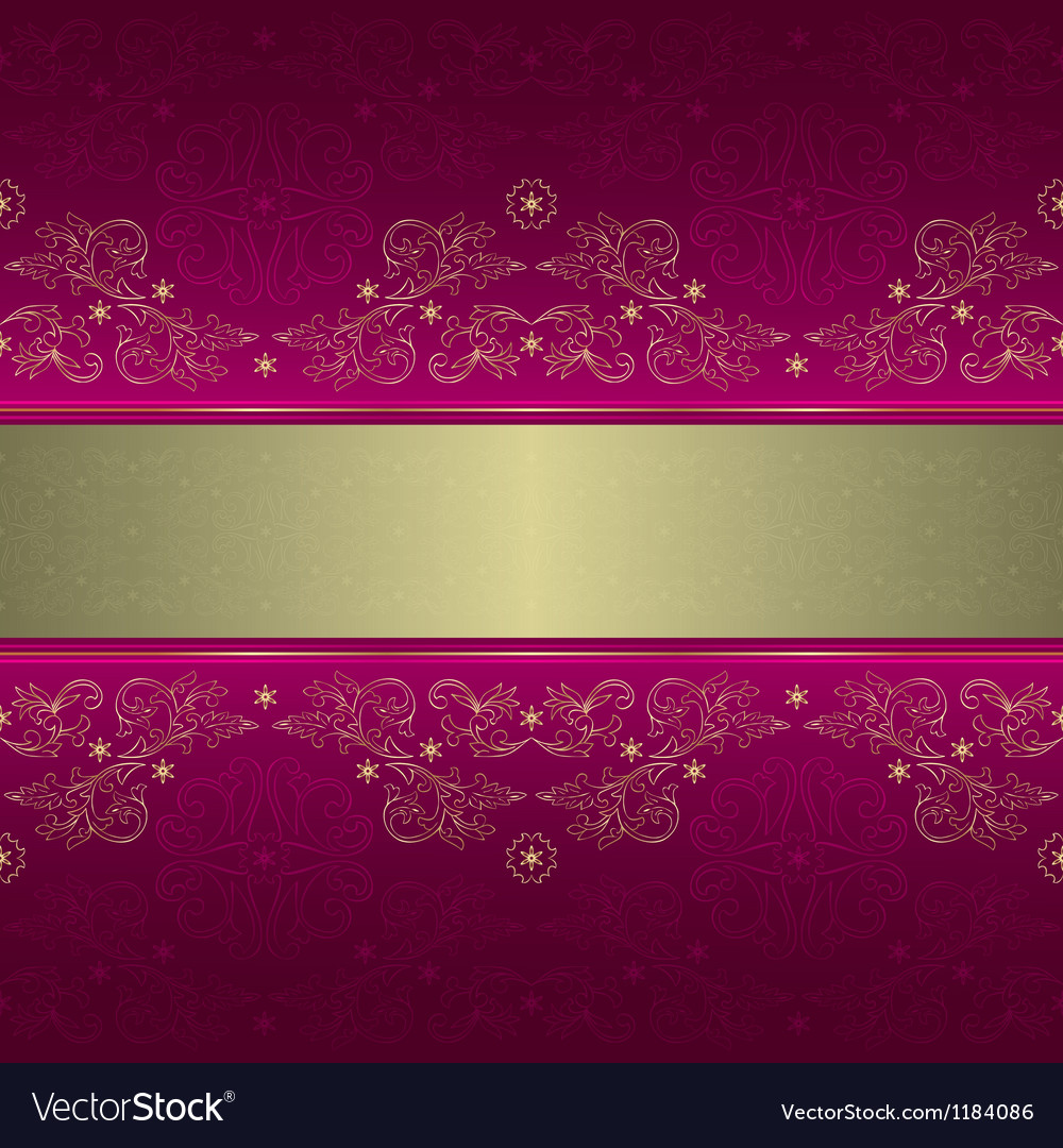 Template gold floral seamless pattern on pink vector image