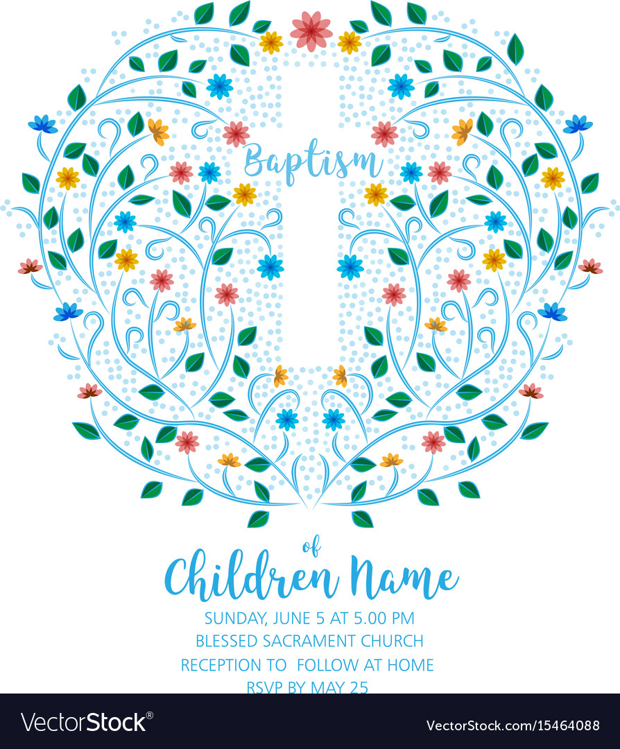 Baptism christening invite - invitation template vector image