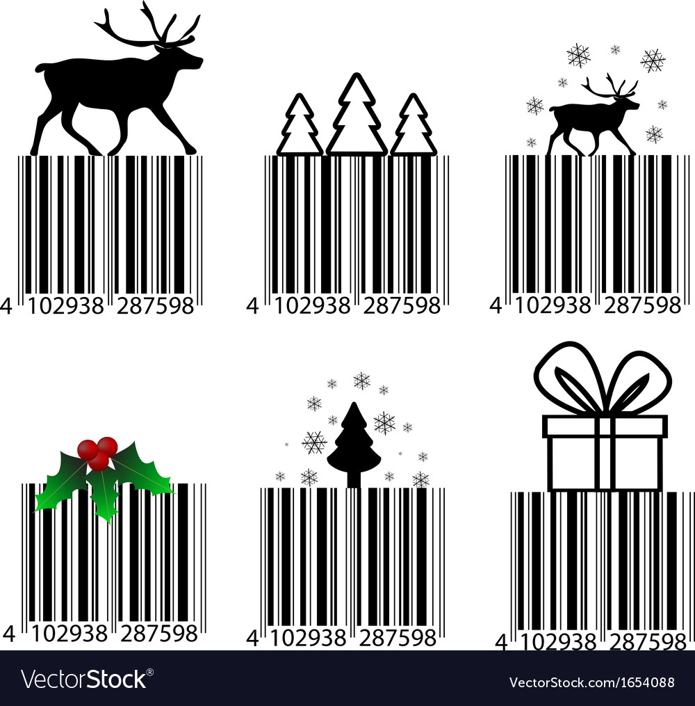 black and white christmas barcode royalty free vector image