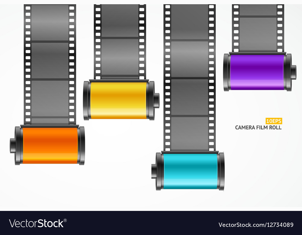 Camera Film Roll Cartrige Set vector image
