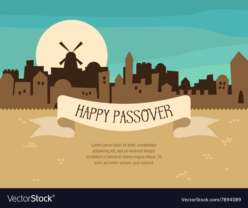 Happy passover greeting card design with jerusalem happy passover greeting card design with jerusalem vector image m4hsunfo Image collections