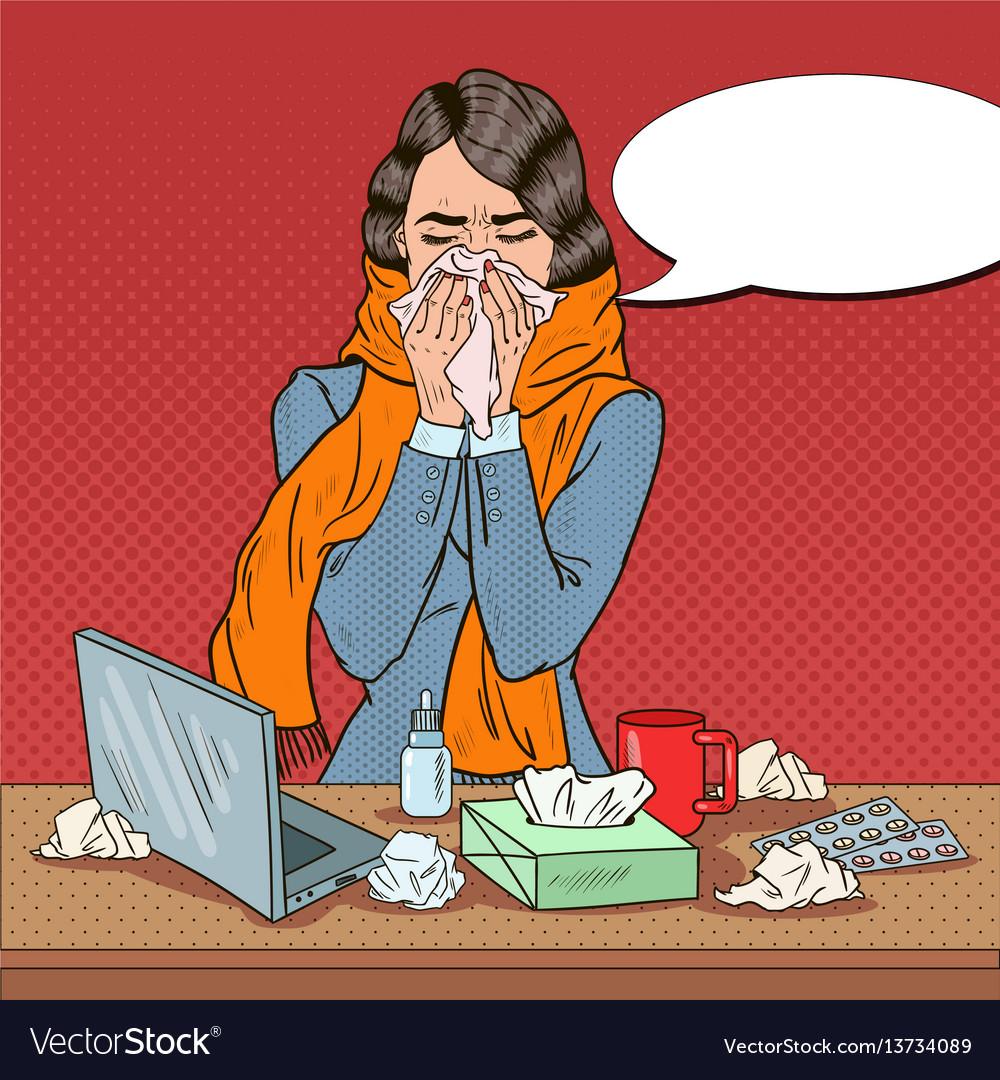 Pop art business woman feeling sick at work vector image