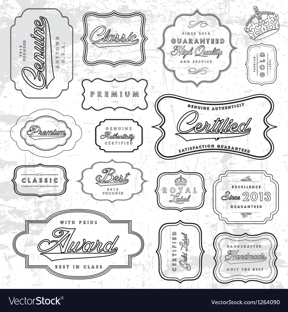 Outline label set vector image