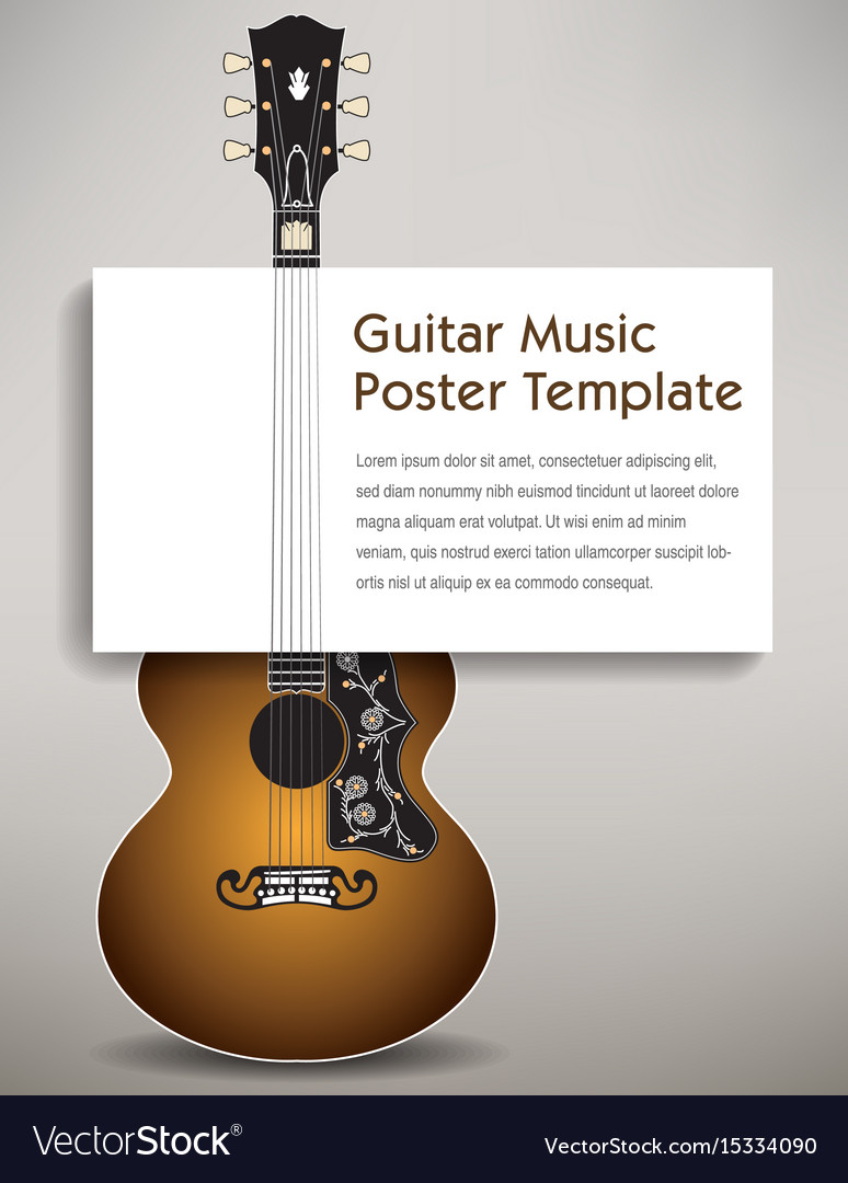 A guitar with a poster board in its strings vector image