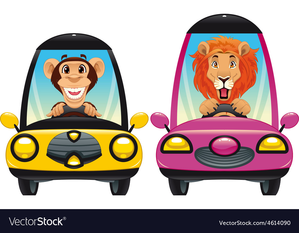 Animals in the car Monkey and Lion vector image