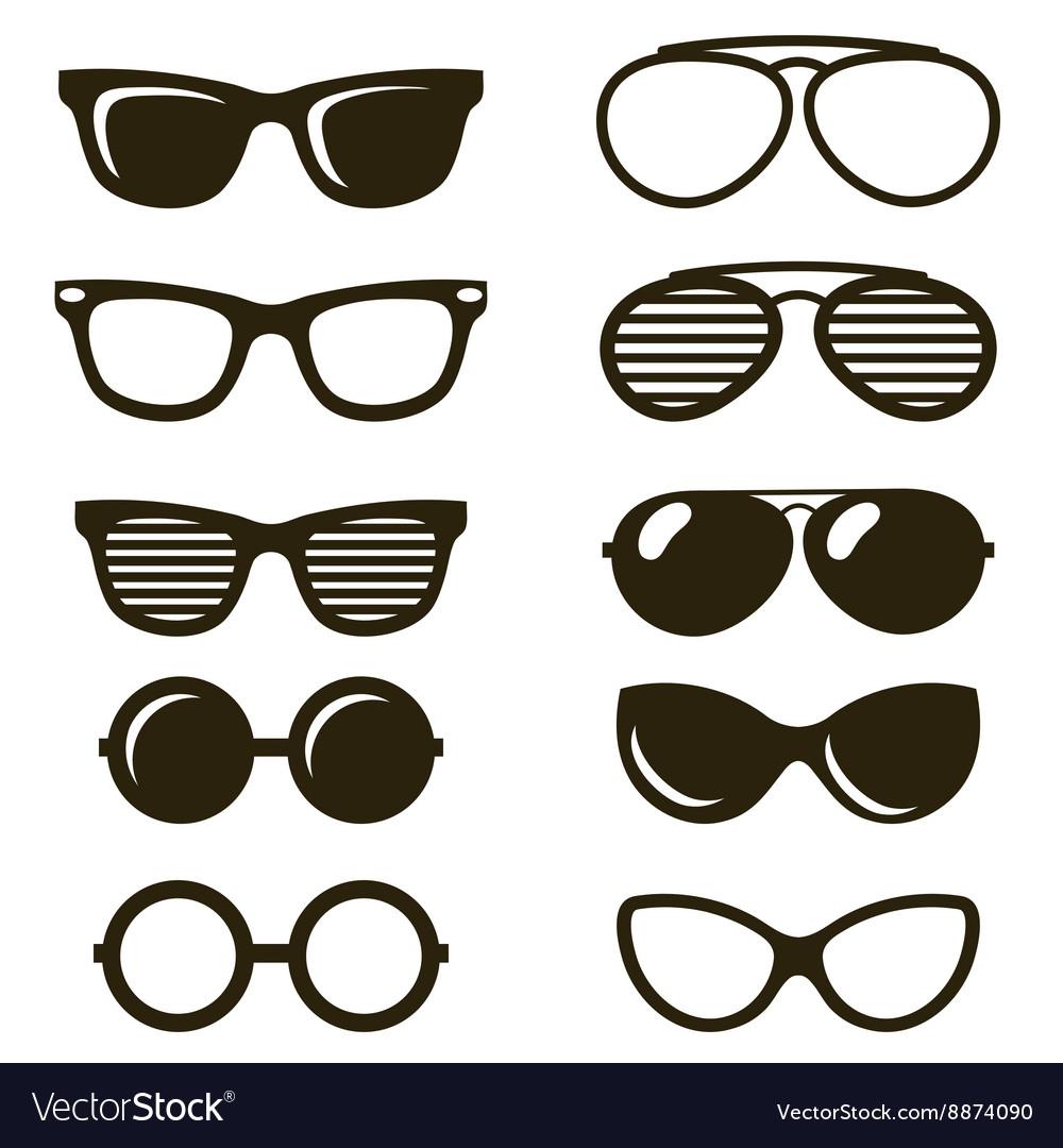 Black sunglasses set vector image