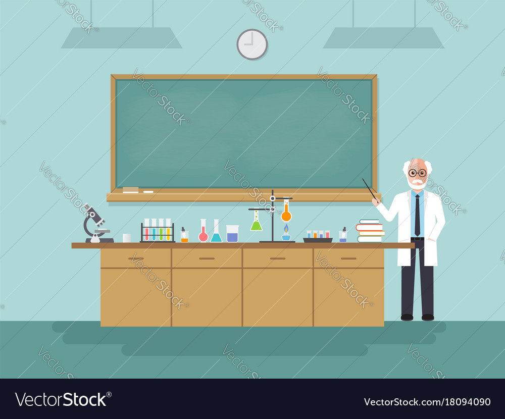 Senior science teacher teaching student in vector image