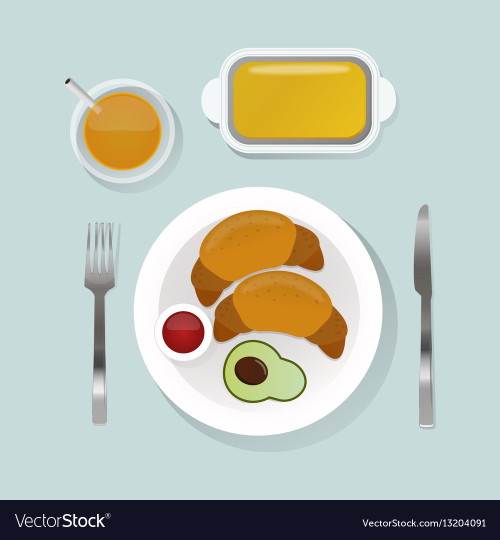 Healthy breakfast food with croissant top view vector image