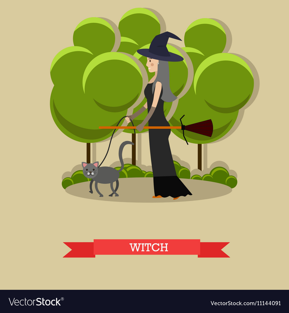 Witch with broom walking her cat in a park Happy vector image
