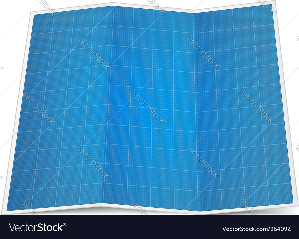 Folded blueprint paper Vector Image