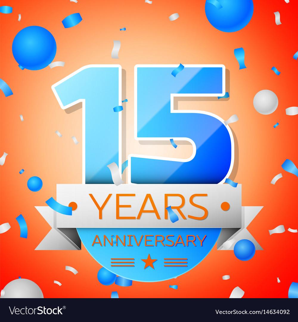 Fifteen years anniversary celebration vector image
