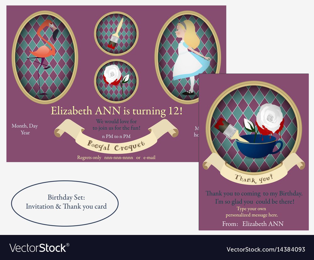 Alice in wonderland royal croquet birthday vector image