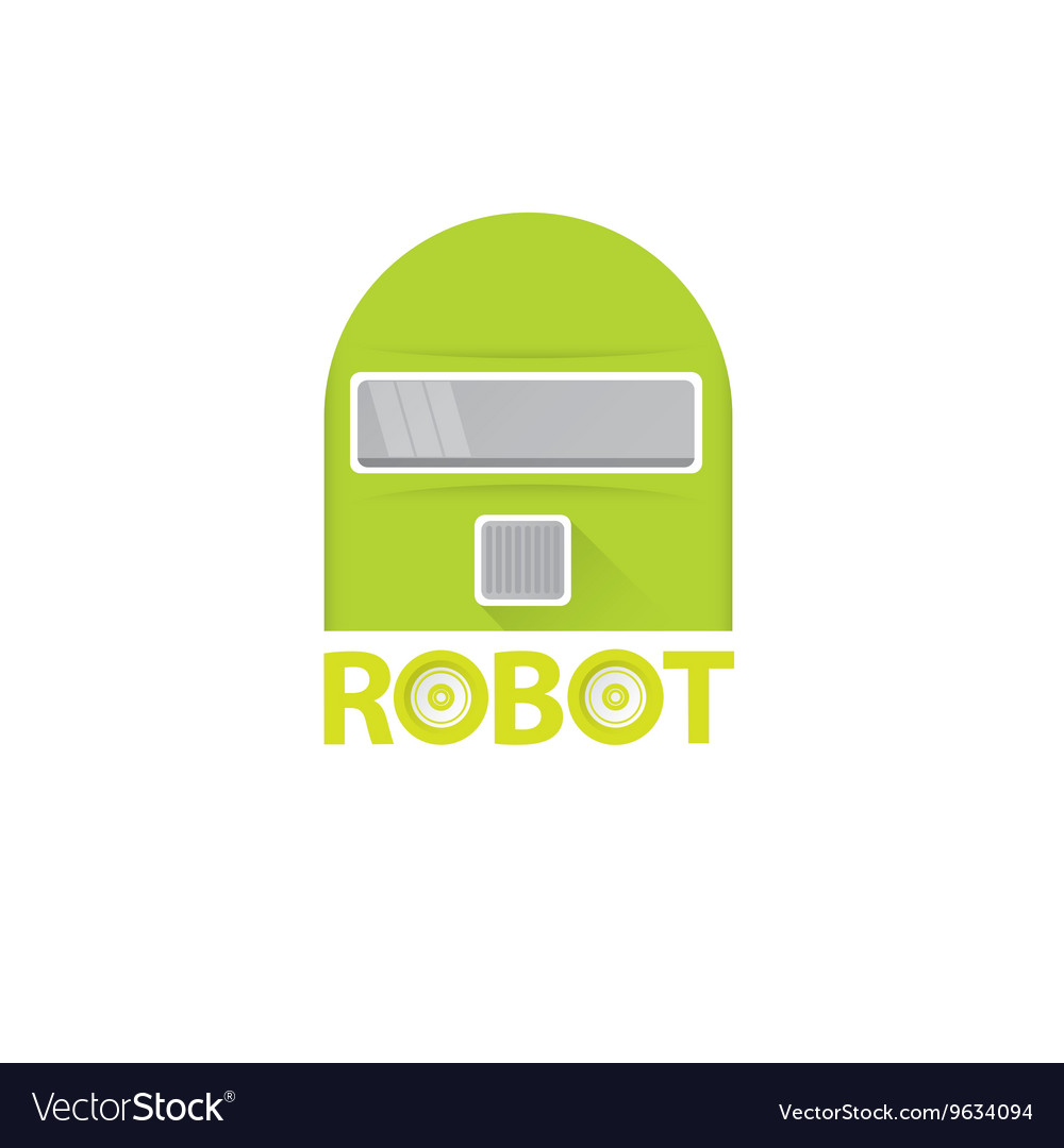 Funny green robot head logo design vector image