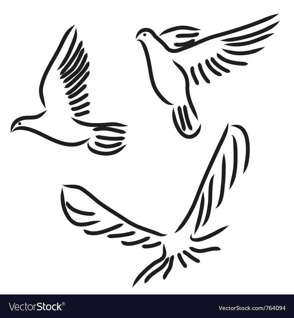 Peace dove set Royalty Free Vector Image  VectorStock