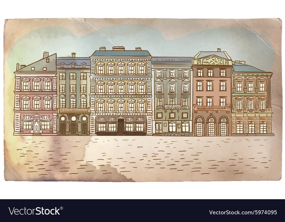Antique European street Vintage post card vector image
