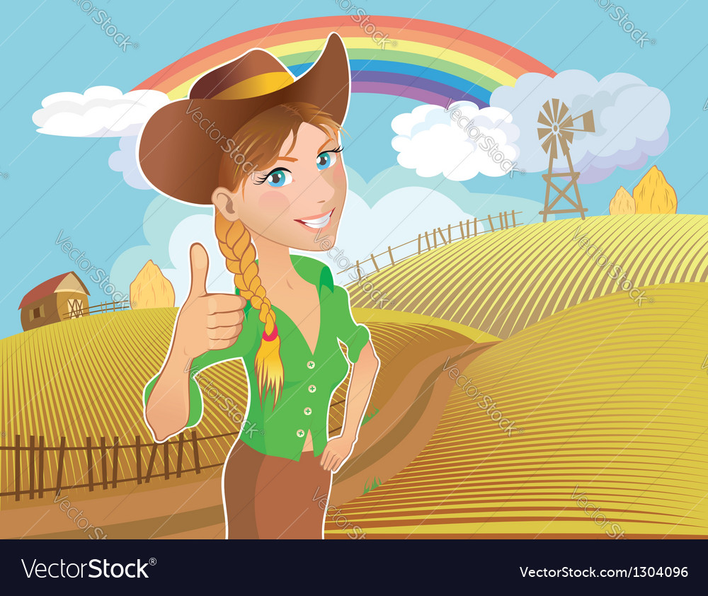 Farm girl vector image