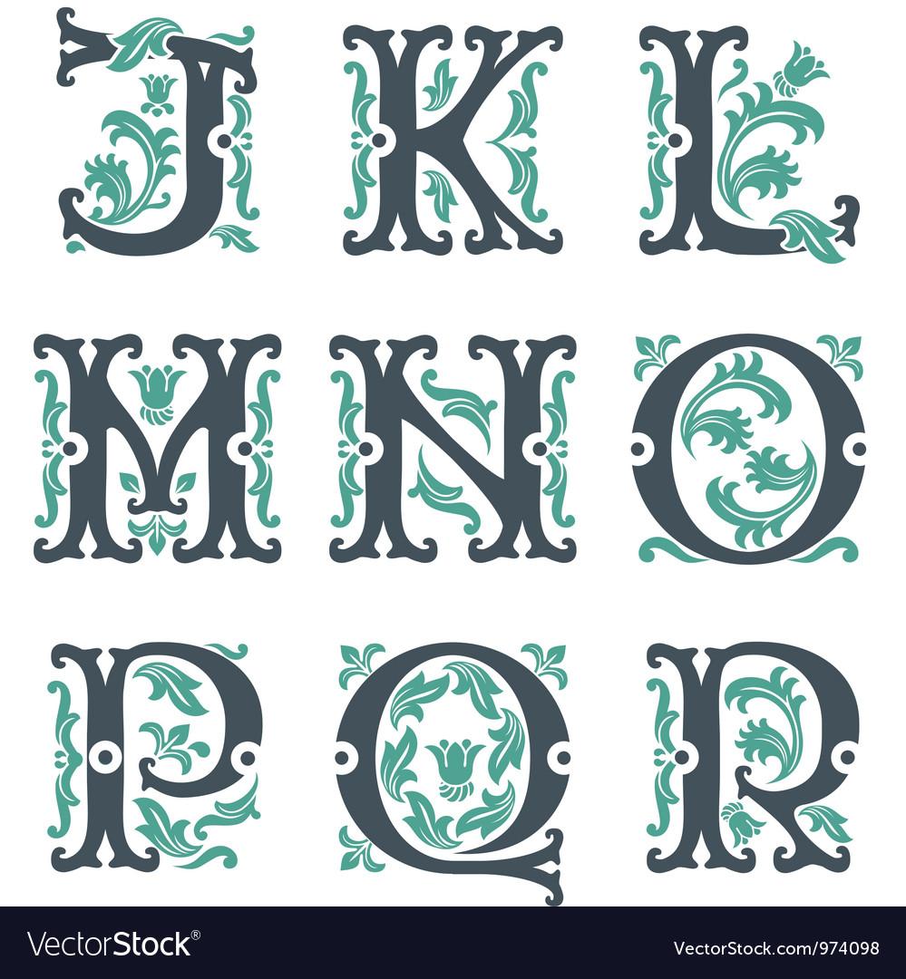 Vintage alphabet Part 2 vector image