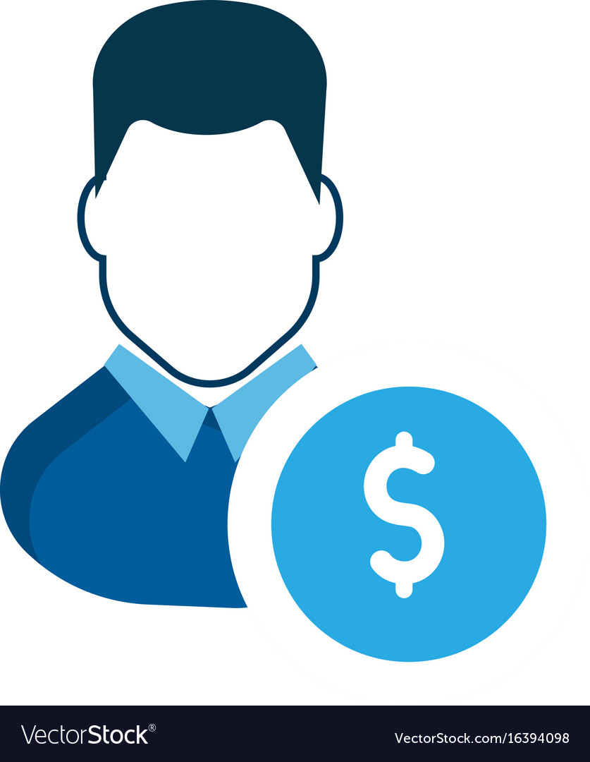 User icon a businessman account earn money vector image