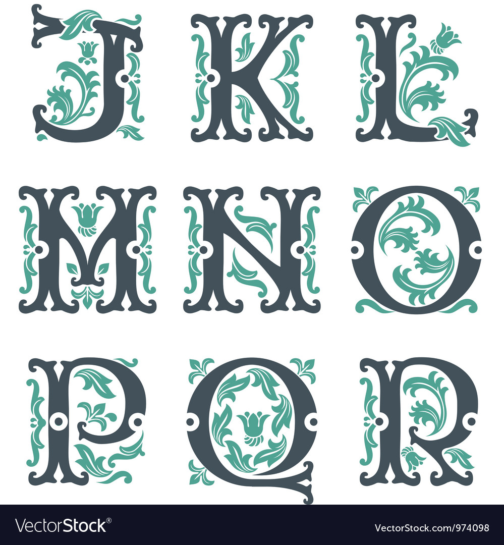 Vintage alphabet Part 2 vector image