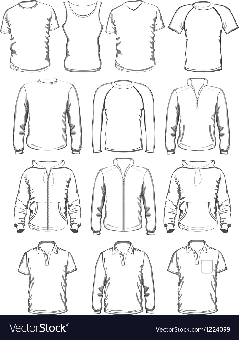 Collection of men clothes outline templates vector image