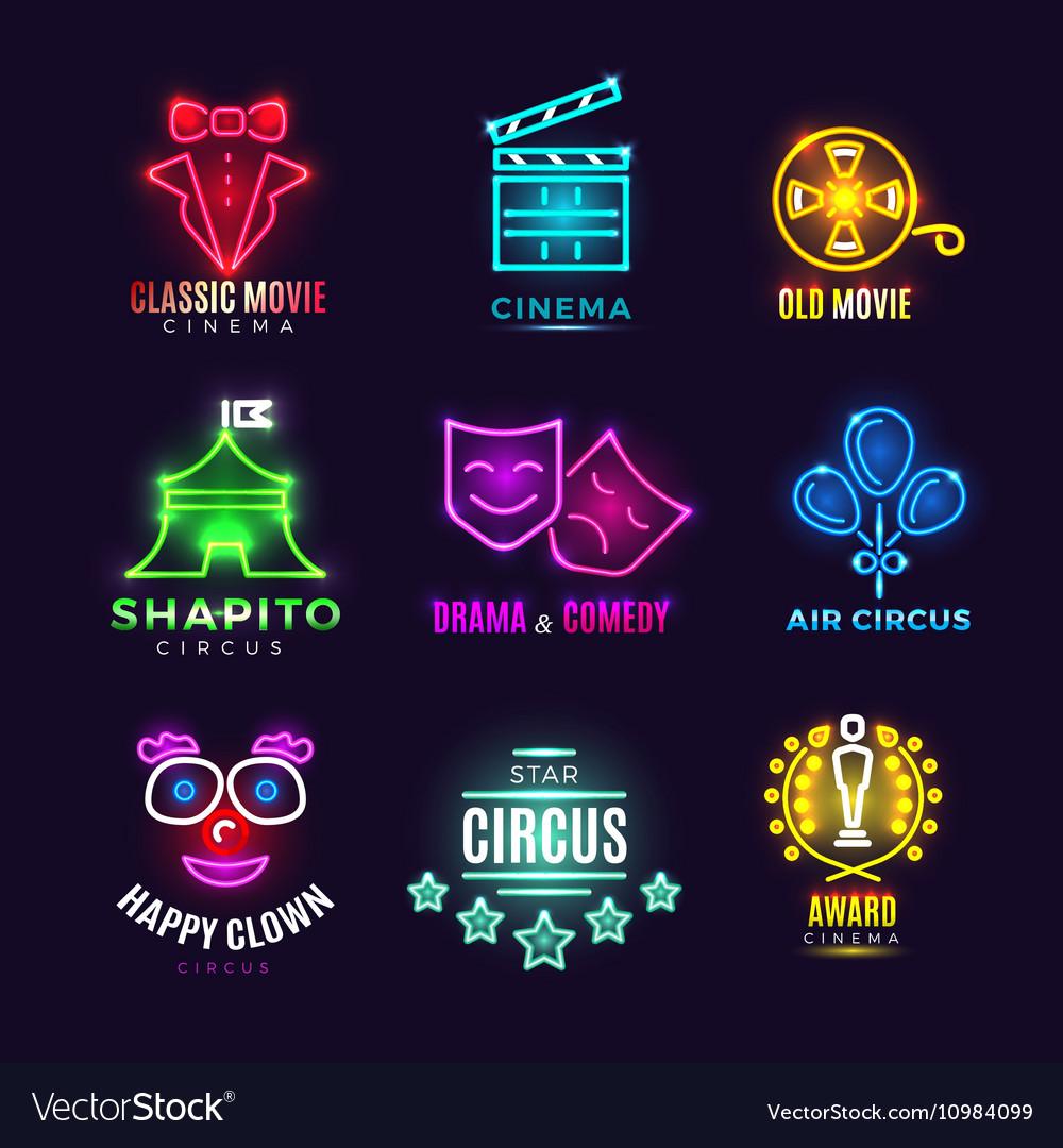 Neon circus cinema movie vintage labels vector image