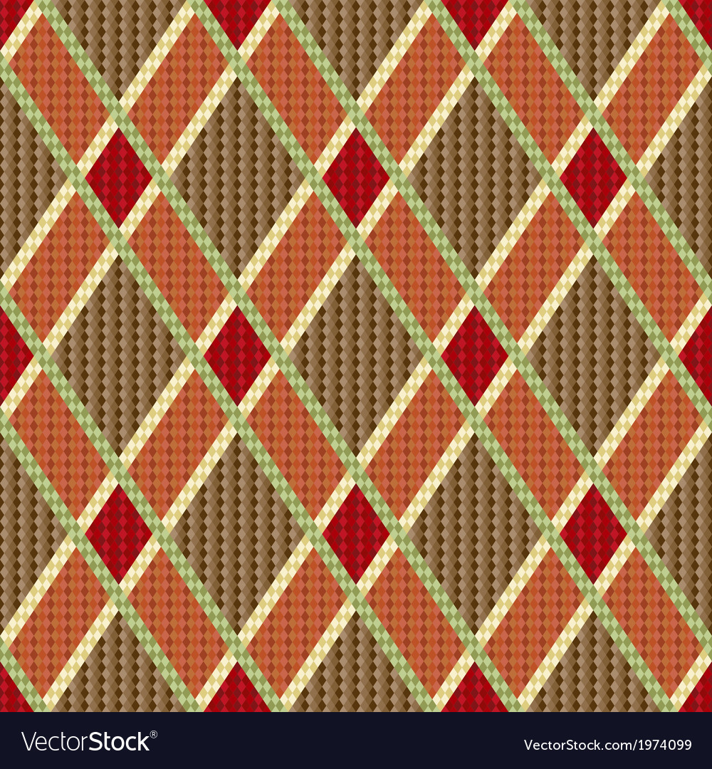 Rhombic tartan red and brown fabric seamless Vector Image