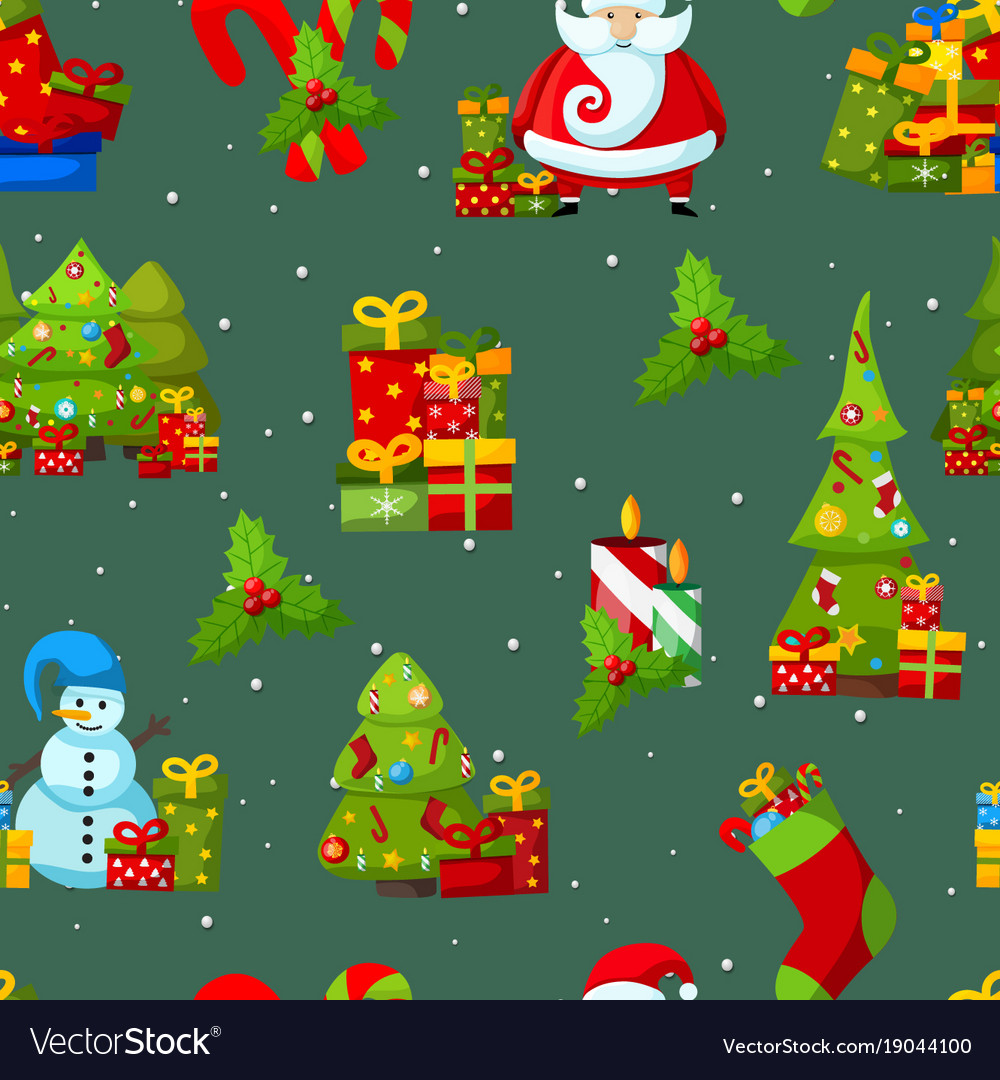 Happy New Year Symbols Seamless Pattern Royalty Free Vector