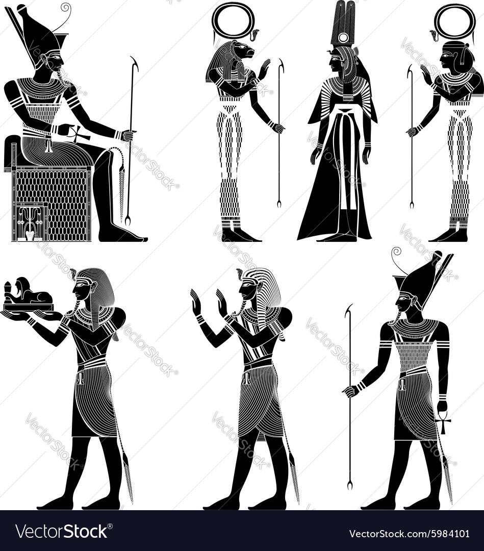 Set of egyptian ancient symbol isolated figure of vector image