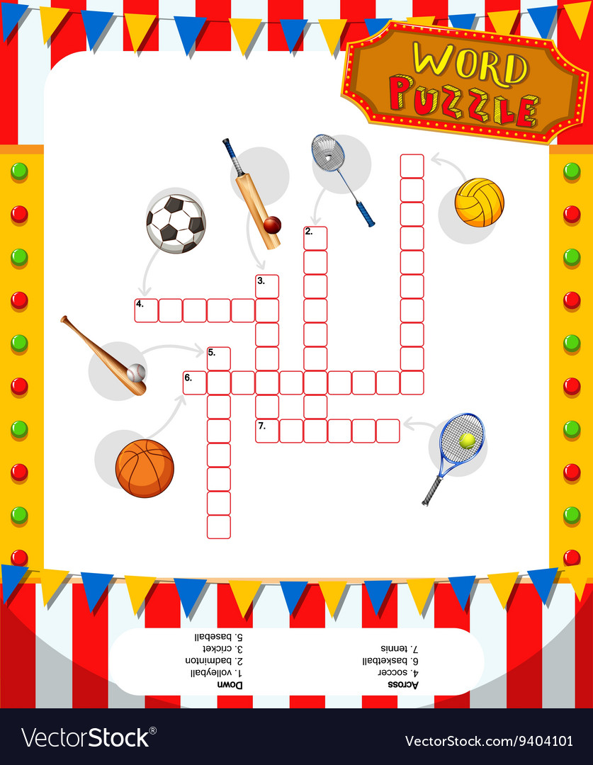 Word puzzle game with sport equipments vector image