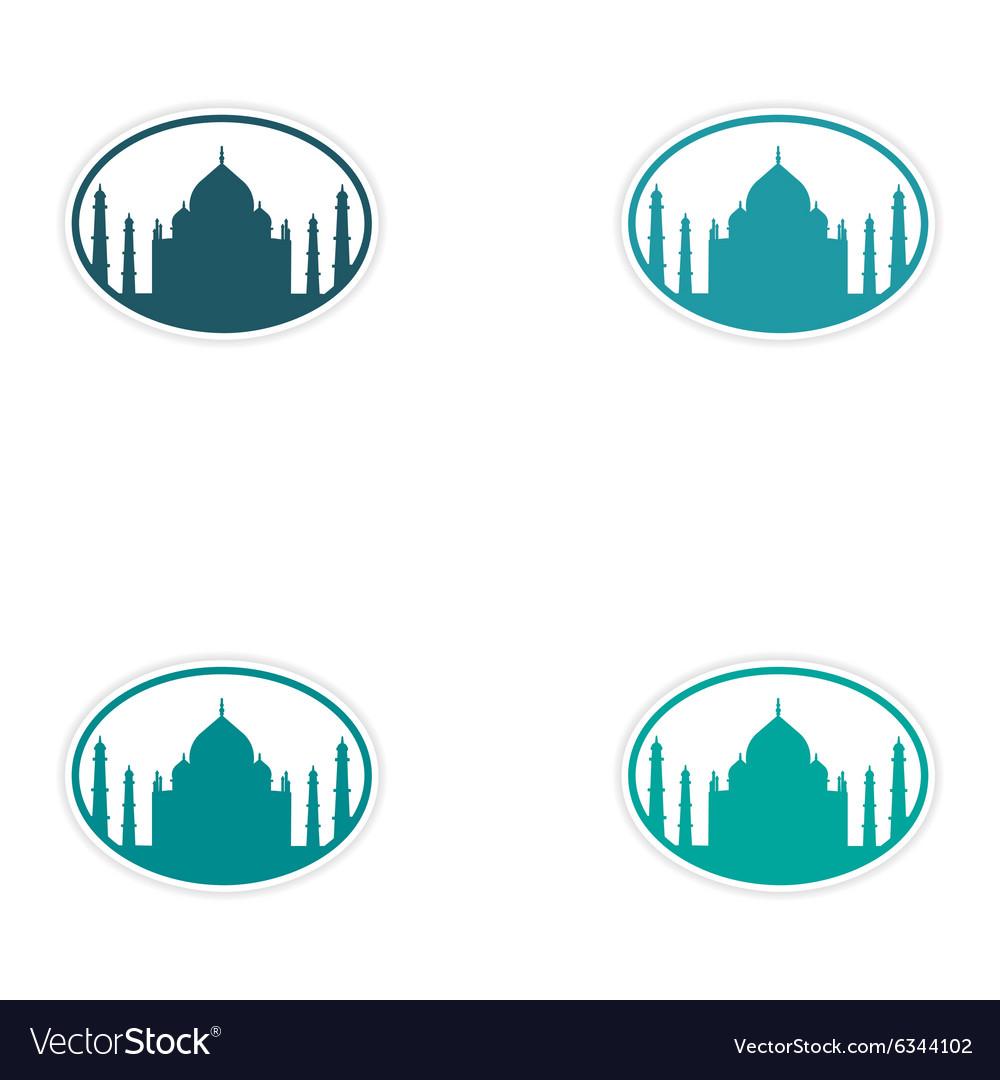 Set of stickers Indian Taj Mahal on white